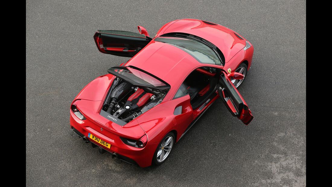 Ferrari 488 GTB, Draufsicht, Türen offen
