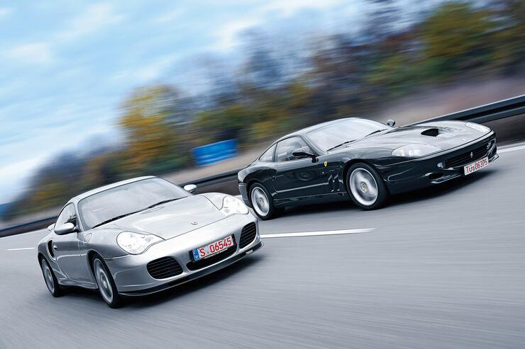 Ferrari 550 Maranello, Porsche 911 Turbo S, Frontansicht