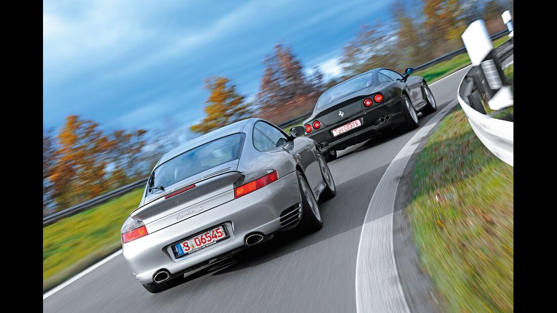 Ferrari 550 Maranello, Porsche 911 Turbo S, Heckansicht
