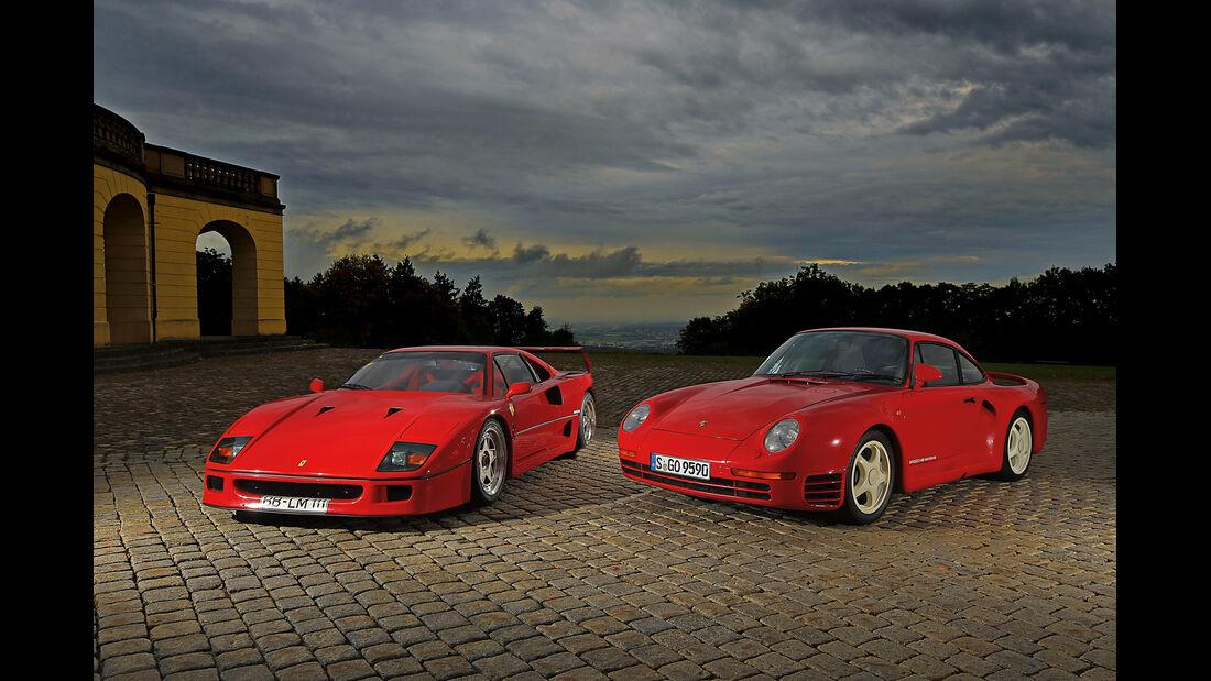 Ferrari F40, Porsche 959, Frontansicht