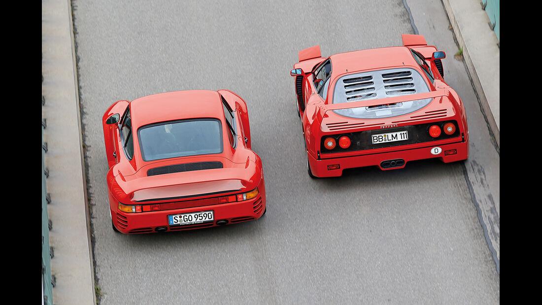 Ferrari F40, Porsche 959, Heckansicht