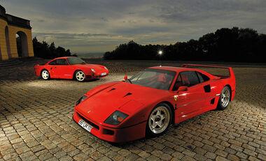 Ferrari F40, Porsche 959, Seitenansicht