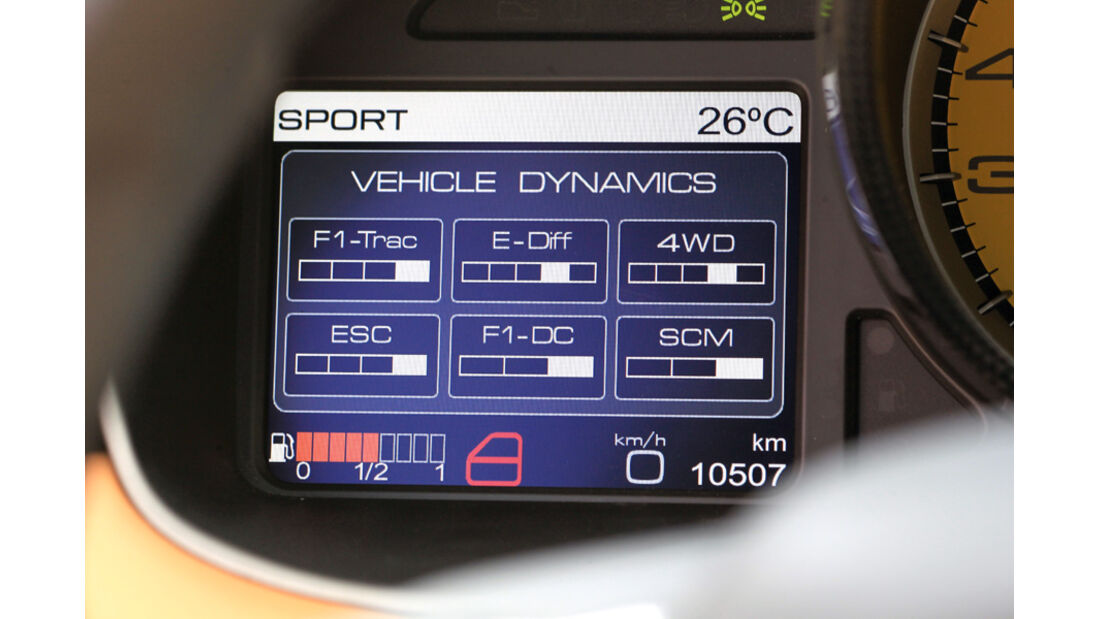 Ferrari FF, Monitor, Anzeige