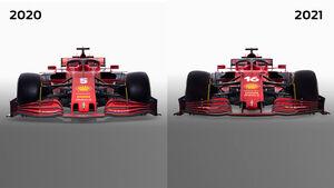 Ferrari SF21 - Ferrari SF1000 - F1-Auto - 2020/2021 - Vergleich