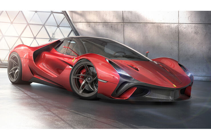 Design Concept Ferrari Stallone Heißes Italien Hypercar Auto Motor Und Sport
