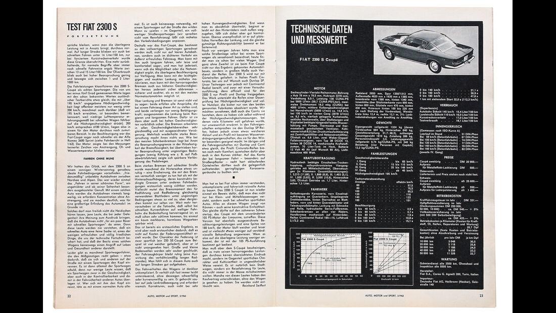 Fiat 2300 S Coupé, alter Testbericht