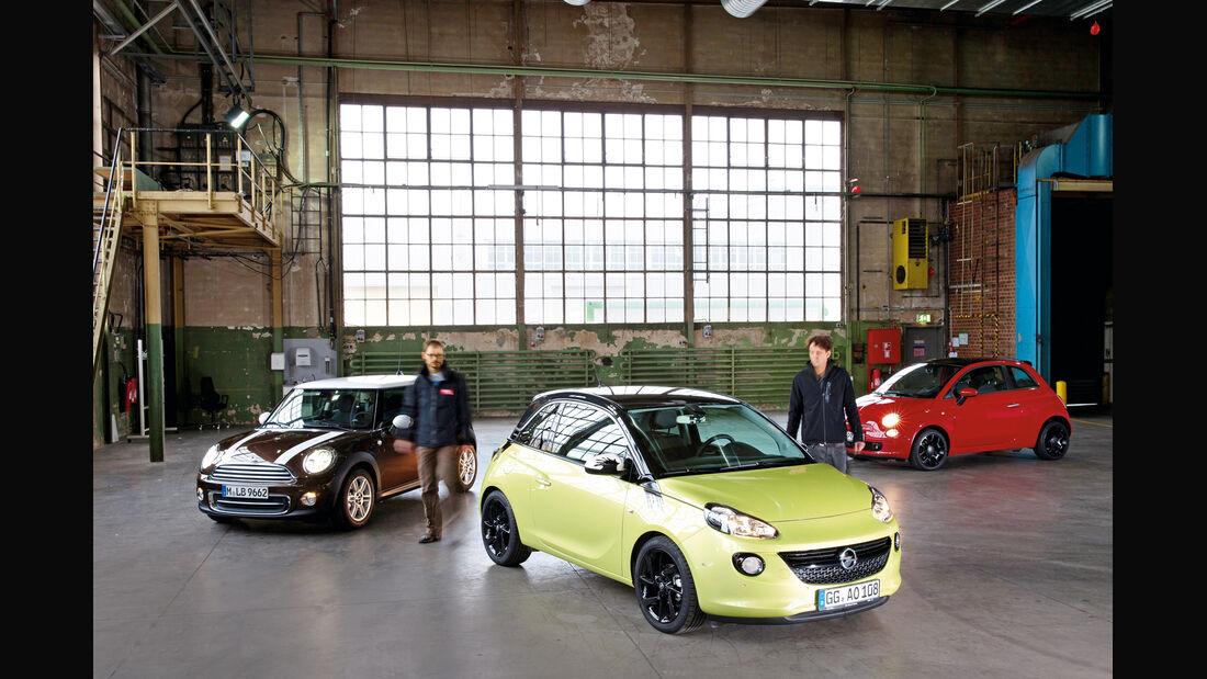 Fiat 500, Mini One, Opel Adam, Frontansicht