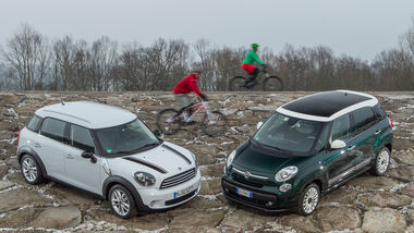 Fiat 500L 0.9 Twinair Lounge, Mini One Countryman, Frontansicht