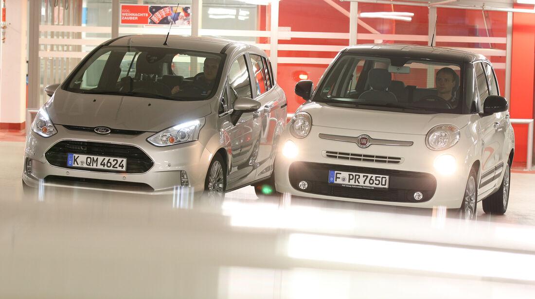 Fiat 500L 1.4 16V Pop Star, Ford B-Max 1.0 Ecoboost Titanium, Frontansicht