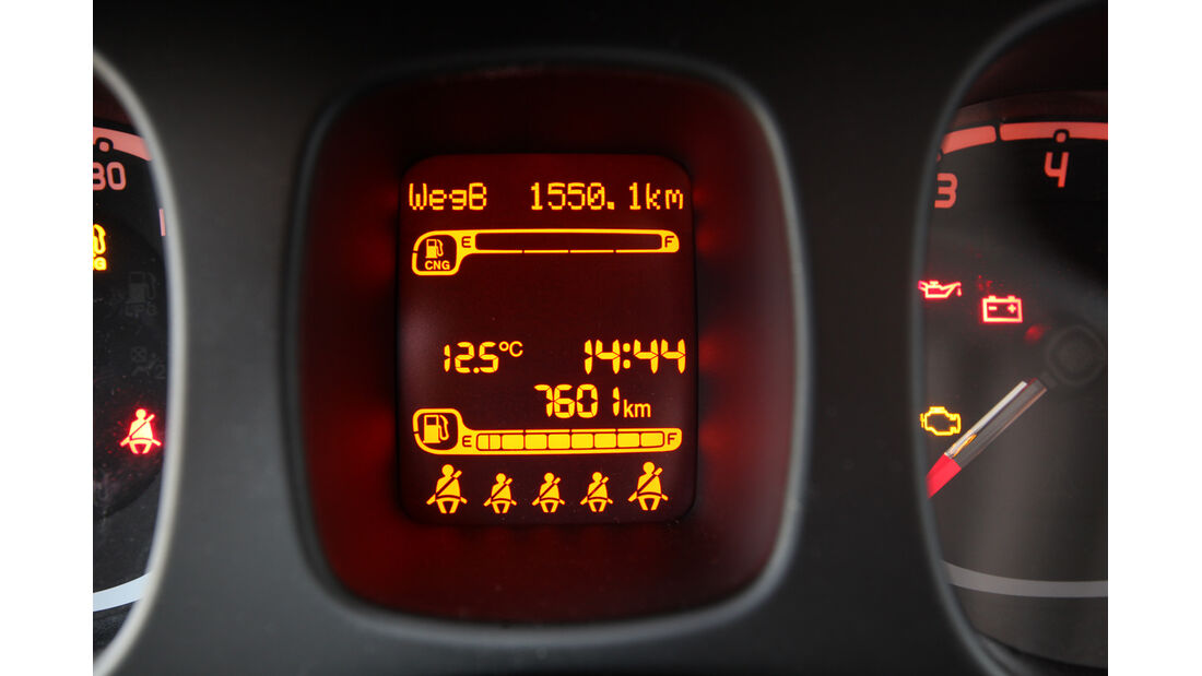 Fiat Panda 0,9 8V Natural Power, Display, Bordcomputer