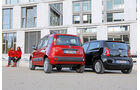 Fiat Panda 0.9 8V Natural Power Lounge, VW Up Ecofuel high up BMT, Heckansicht