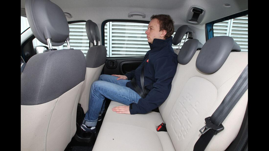 Fiat Panda 0,9 8V Natural Power, Rücksitz, Beinfreiheit