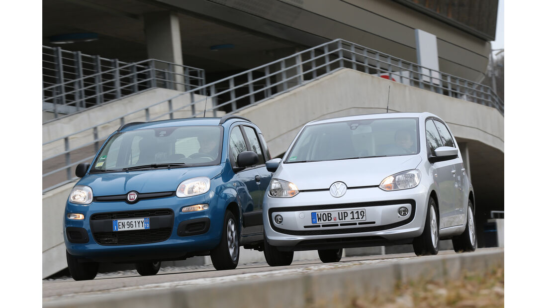 Fiat Panda 0,9 8V Natural Power, VW Eco Up, Frontansicht