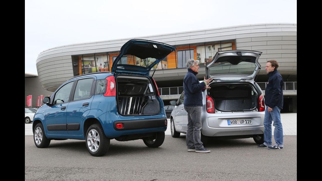 Fiat Panda 0,9 8V Natural Power, VW Eco Up, Heckklappe, Heckansicht