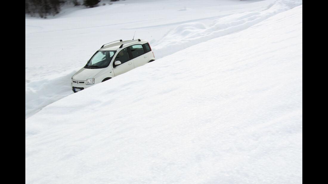Fiat Panda 4X4, Seitenansicht, Schneeberge
