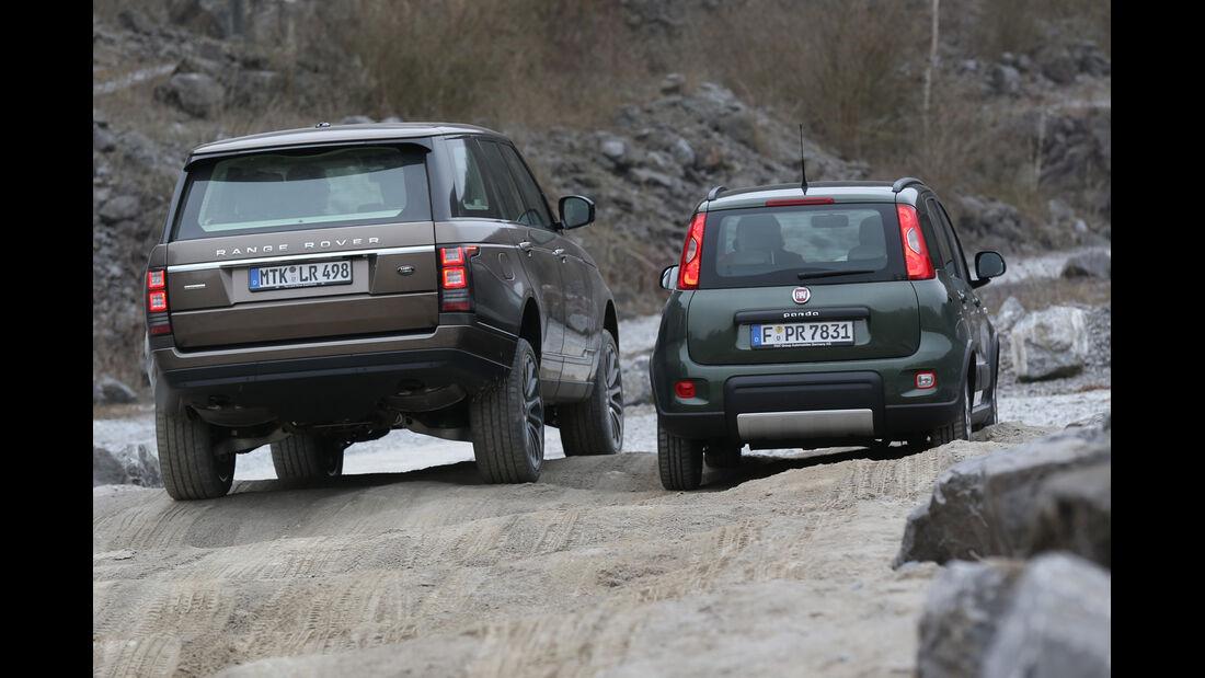 Fiat Panda 4x4, Range Rover, Heckansicht