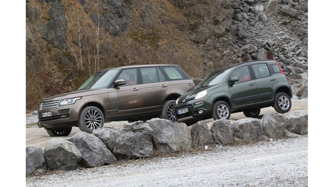 Fiat Panda 4x4, Range Rover, Seitenansicht
