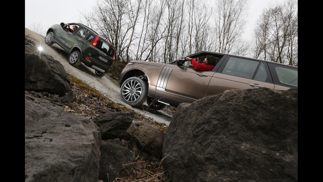 Fiat Panda 4x4, Range Rover, Steigung