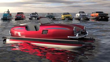 Floating Motors Oldtimer Klassiker Boot Katamaran Render
