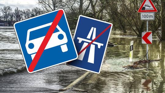 Flut Hochwasser Straße Autobahn Sperrung