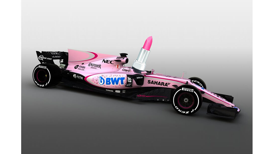 Force India Rosa Formel 1 Auto Collage