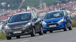 Ford B-Max 1.6 TDCi, Opel Meriva 1.6 CDTI, Frontansicht