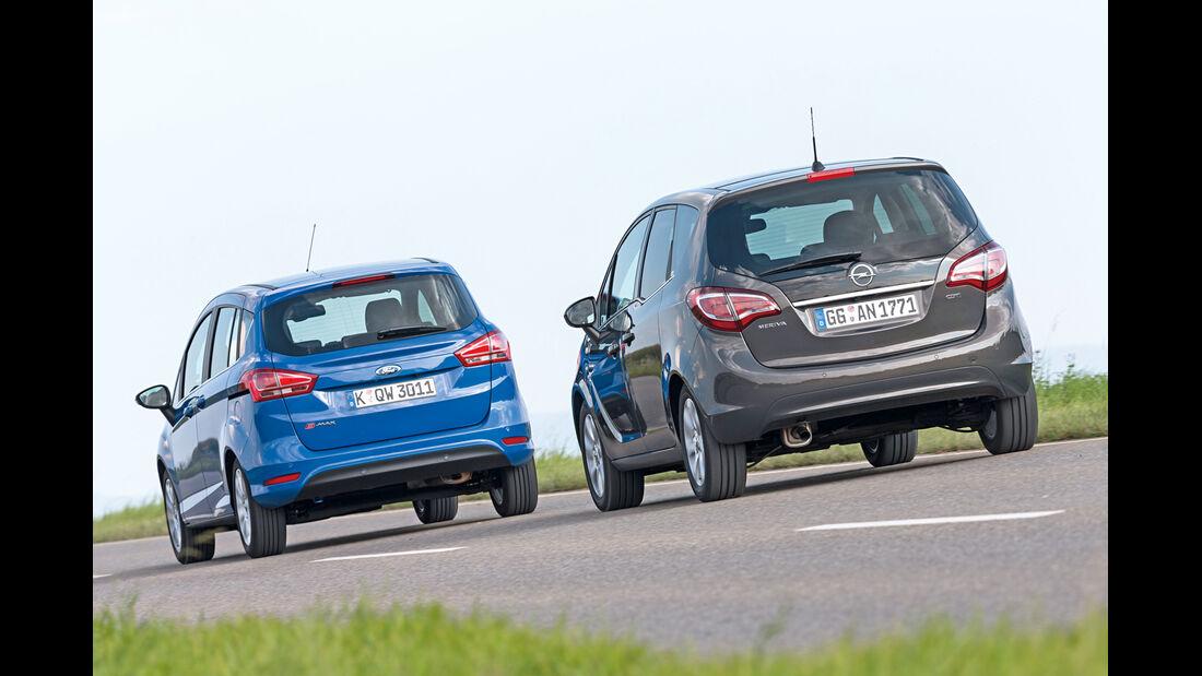 Ford B-Max 1.6 TDCi, Opel Meriva 1.6 CDTI, Heckansicht