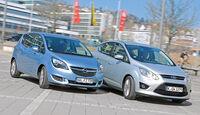 Ford C-MAX 2.0 TDCi, Opel Meriva 1.6 CDTI, Seitenansicht