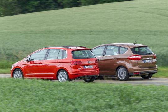 Ford C-Max 1.6 Ecoboost, VW Golf Sportsvan 1.4 TSI, Heckansicht