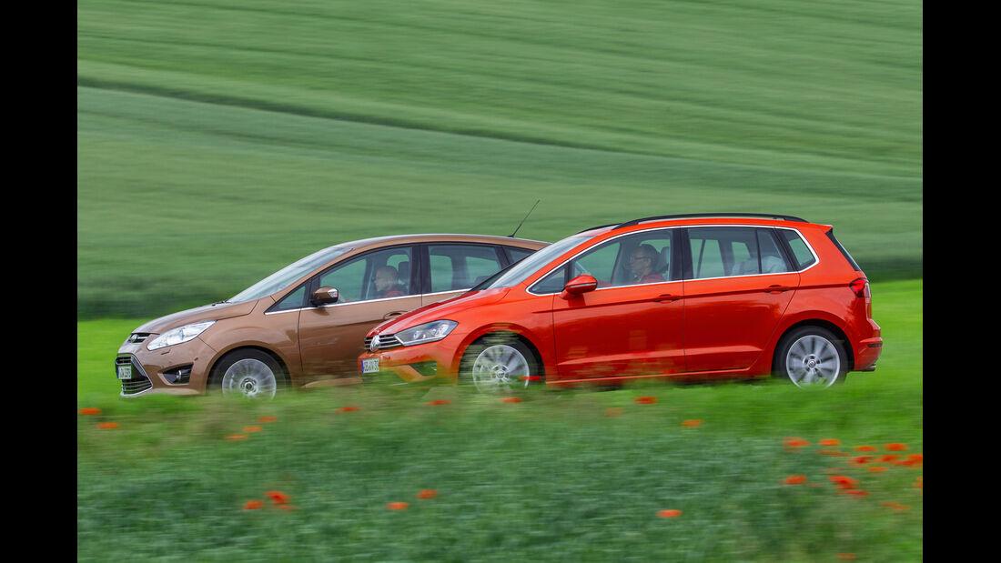 Ford C-Max 1.6 Ecoboost, VW Golf Sportsvan 1.4 TSI, Seitenansicht