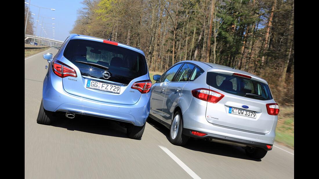 Ford C-Max 2.0 TDCI, Opel Meriva 1.6 CDTI, Heckansicht