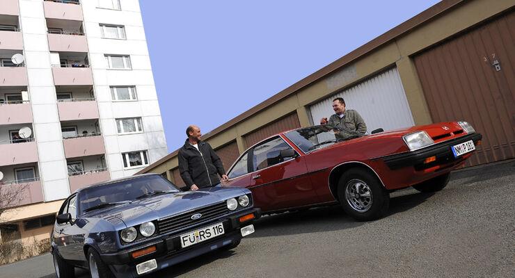 Ford Capri 2.3 S (Capri 78), Baujahr 1984; Opel Manta 2.0 L, Baujahr 1980