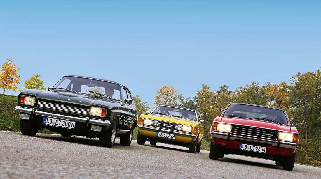 Ford Capri 2600 GT, Ford Taunus 2300 GXL, Ford Granada 2.0 l, Frontansicht