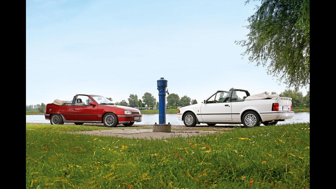 Ford Escort 1.6 XR3i Cabriolet, Opel Kadett E 2.0 GSi Cabriolet, Seitenansicht