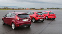 Ford Fiesta 1.0 EcoBoost, Renault Clio TCe 90, VW Polo 1.2 TSI BMT, Seitenansicht
