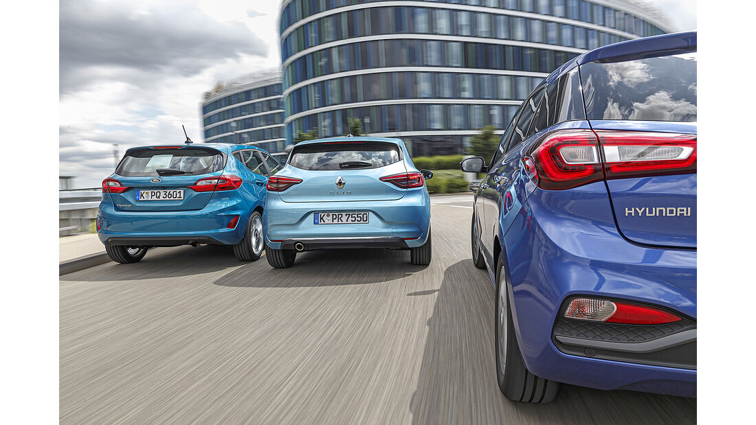 Ford Fiesta 1.0 Ecoboost, Hyundai i20 1.0 T-GDI, Renault Clio Tce 130, Exterieur