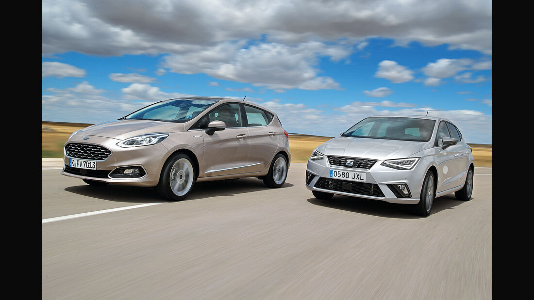 Ford Fiesta 1.0 Ecoboost Vignale, Seat Ibiza 1.0 EcoTSI Xcellence, Front
