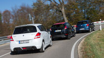 Ford Fiesta Black Edition, Suzuki Swift Sport, VW Polo Blue GT, Heckansicht