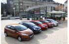 Ford Fiesta, Kia Rio, Opel Corsa, Peugeot 208, Seat Ibiza, Frontansicht