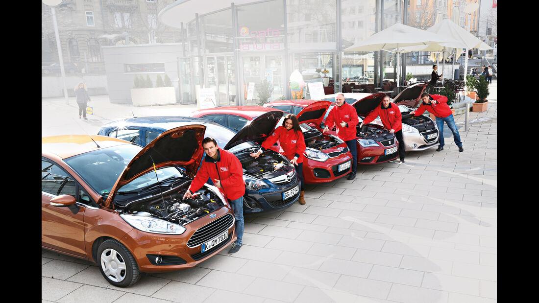 Ford Fiesta, Kia Rio, Opel Corsa, Peugeot 208, Seat Ibiza, Motorhaube