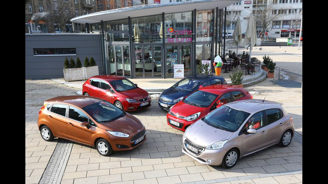 Ford Fiesta, Kia Rio, Opel Corsa, Peugeot 208, Seat Ibiza, Seitenansicht