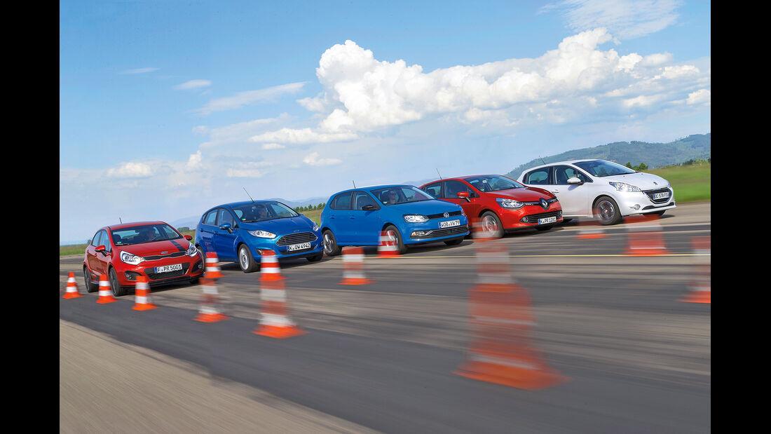 Ford Fiesta, Kia Rio, Peugeot 208, Renault Clio, VW Polo, Frontansicht
