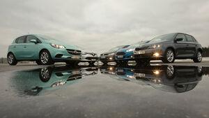 Ford Fiesta, Opel Corsa, Renault Clio, Skoda Fabia, VW Polo, Seitenansicht