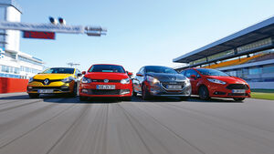 Ford Fiesta ST, Peugeot 208 GTI, Renault Clio R.S, VW Polo GTI, Frontansicht
