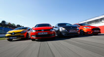 Ford Fiesta ST, Peugeot 208 GTi, Renault Clio RS, VW Polo GTI, Frontansicht