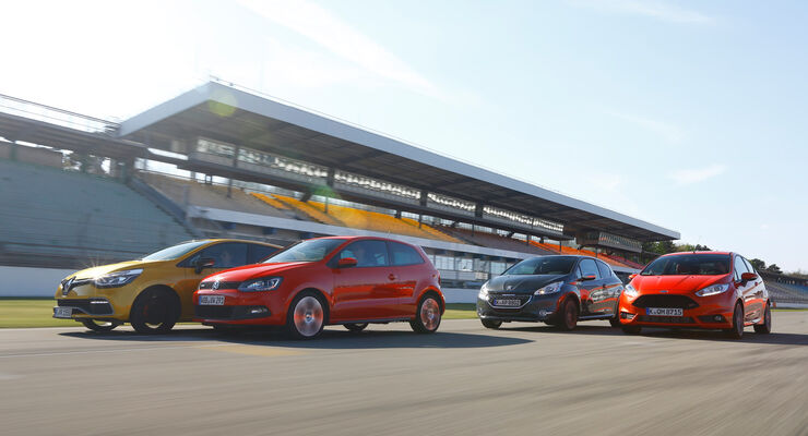 Ford Fiesta ST, Peugeot 208 GTi, Renault Clio RS, VW Polo GTI, Seitenansicht