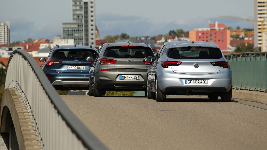 Ford Focus 1.0 EcoBoost Active, Hyundai i30 1.4 T-GDI, Opel Astra 1.2 DI Turbo, Exterieur