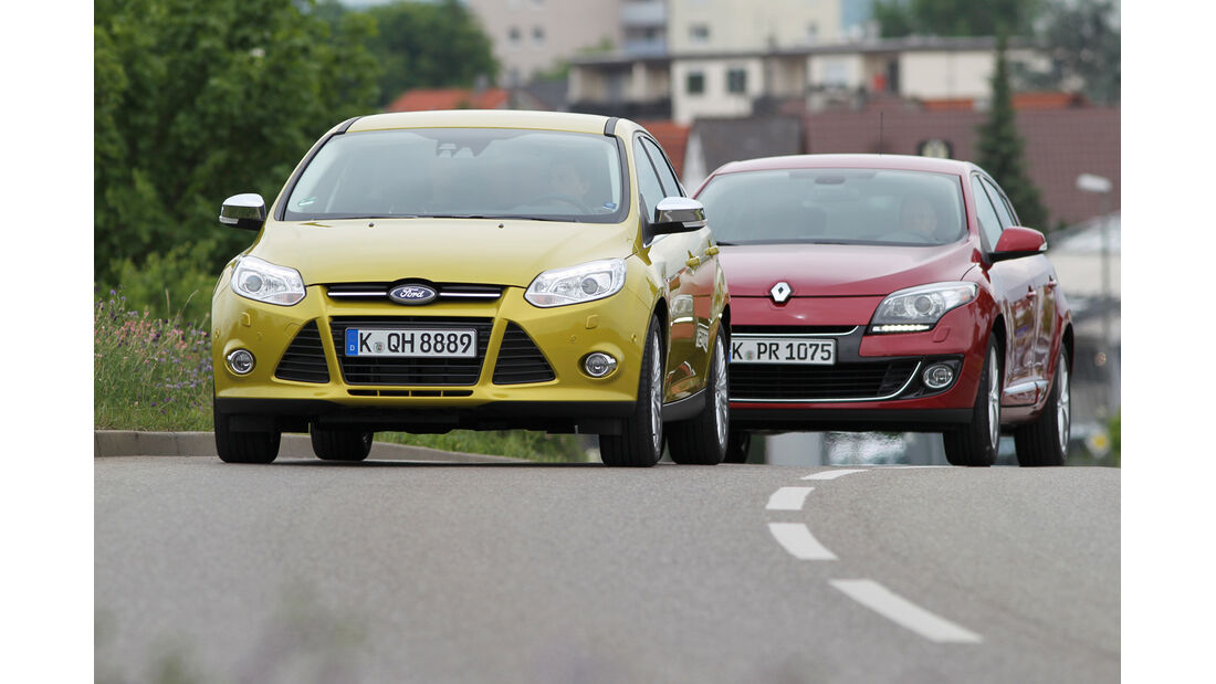 Ford Focus 1.0 Ecoboost, Renault Mégane TCe 130, Frontansicht