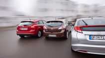Ford Focus 2.0 TDCi, Honda Civic 2.2 i-DTEC, Mazda 3 2.2 MRZ-CD, Heck