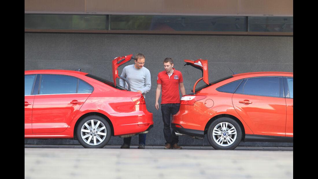 Ford Focus 2.0 TDCi Trend, VW Jetta 2.0 TDI Highline, Heckklappe